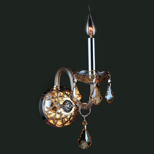 Worldwide Lighting Corp Provence Chrome Finish with Amber Crystal Wall Sconce