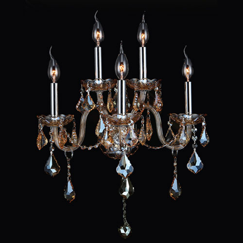 Provence Five-Light Chrome Finish with Amber Crystal Wall Sconce