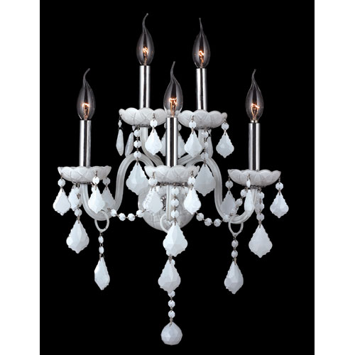 Worldwide Lighting Corp Provence Five-Light Chrome Finish with White Crystal Wall Sconce