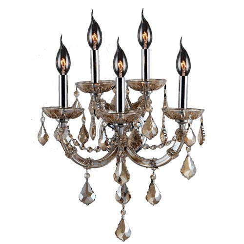Lyre Polished Chrome Five-Light Wall Sconce
