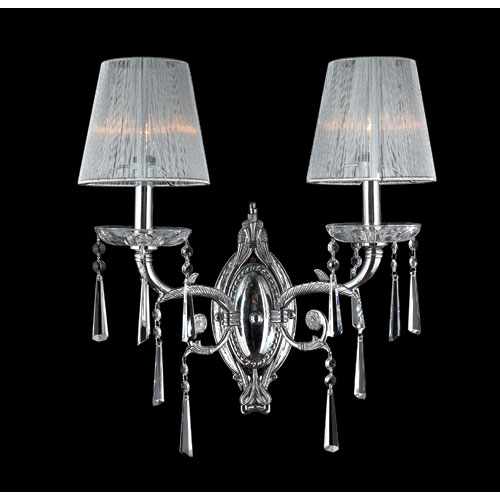 Orleans Two-Light Chrome Finish with Clear-Crystals Wall Sconce