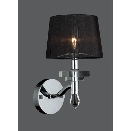 Worldwide Lighting Corp Gatsby Chrome Finish with Clear-Crystals Wall Sconce