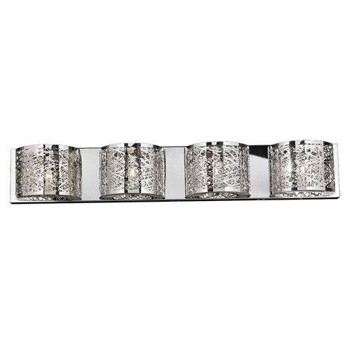 Aramis Polished Chrome Four-Light Wall Sconce