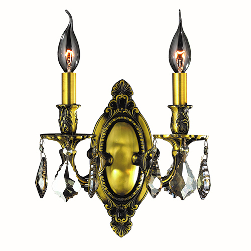 Worldwide Lighting Corp Windsor Antique Bronze and Golden Teak Two-Light Wall Sconce