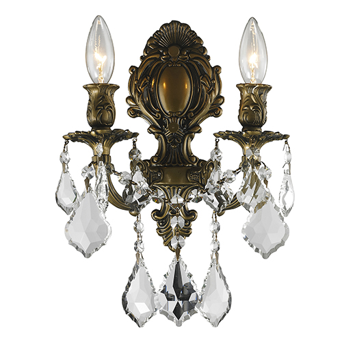 Worldwide Lighting Corp Versailles Antique Bronze 12-Inch Two-Light Wall Sconce