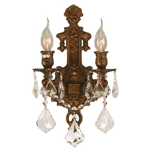 Worldwide Lighting Corp Versailles French Gold Two-Light Wall Sconce