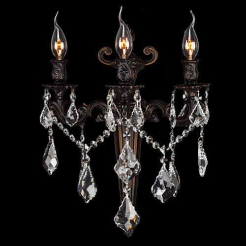 Versailles Three-Light Flemish Brass Finish with Clear-Crystals Wall Sconce