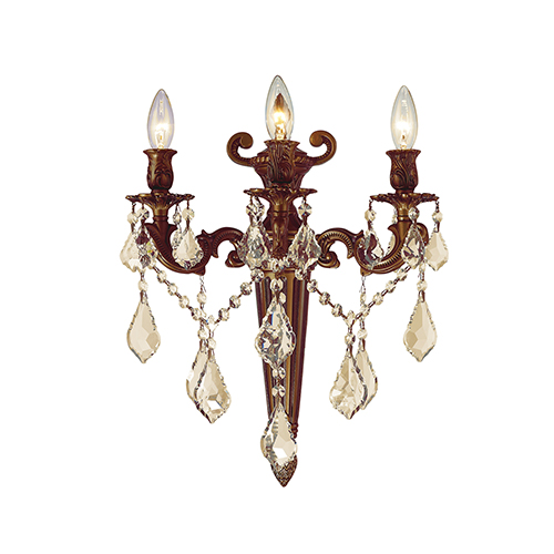 Worldwide Lighting Corp Versailles French Gold and Golden Teak 15-Inch Three-Light Wall Sconce
