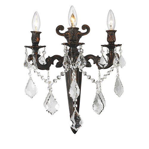 Versailles Flemish Brass 15-Inch Three-Light Wall Sconce