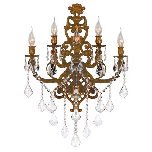 Worldwide Lighting Corp Versailles French Gold Five-Light Wall Sconce