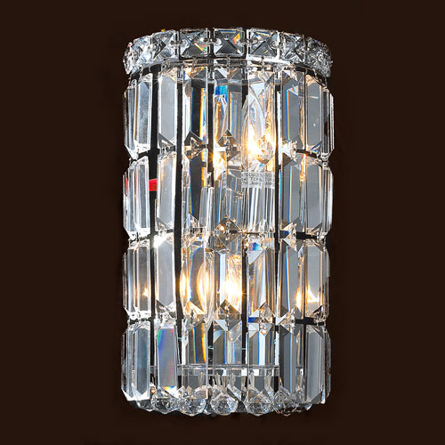 Worldwide Lighting Corp Cascade Two-Light Chrome Finish with Clear-Crystals Wall Sconce