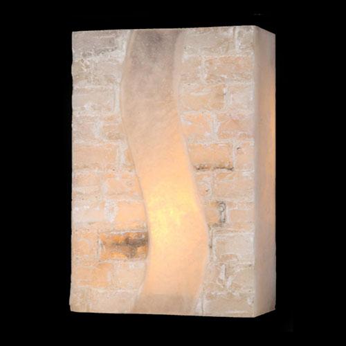 Pompeii Flemish Brass Finish Natural Quartz Wall Sconce