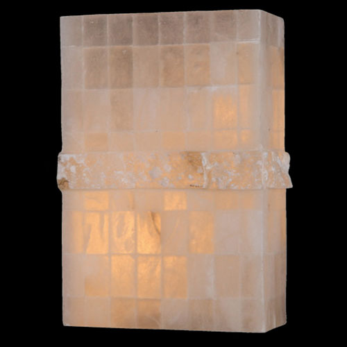 Worldwide Lighting Corp Pompeii Flemish Brass Finish Natural Quartz Wall Sconce
