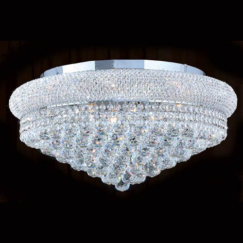 Worldwide Lighting Corp Empire 12-Light Chrome Finish with Clear-Crystals Ceiling-Light