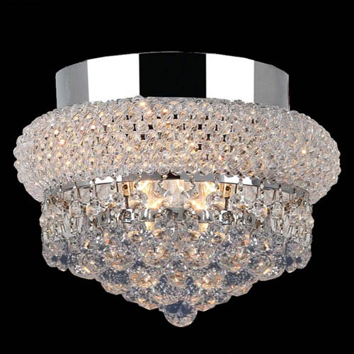 Worldwide Lighting Corp Empire Three-Light Chrome Finish with Clear-Crystals Ceiling-Light