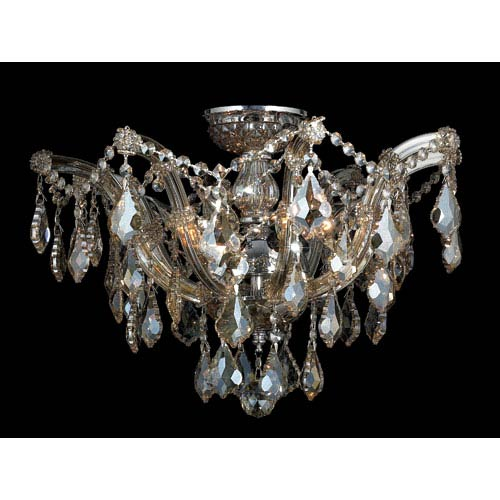 Bayou Six-Light Chrome Finish with Golden Teak Crystal Ceiling-Light