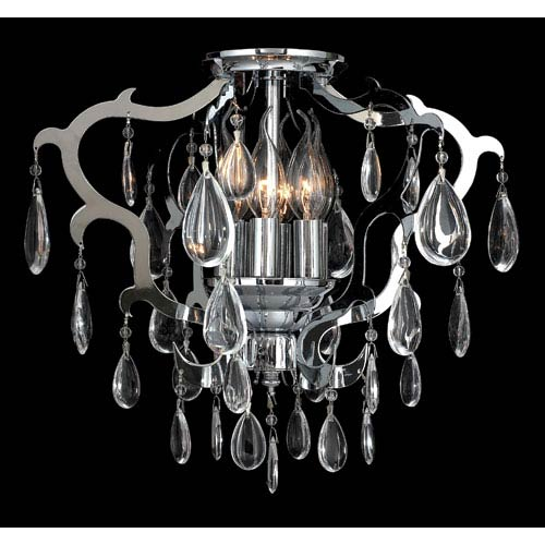 Henna Six-Light Chrome Finish with Clear-Crystals Ceiling-Light