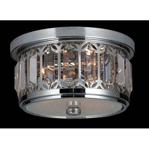 Worldwide Lighting Corp Parlour Three-Light Chrome Finish with Clear-Crystals Ceiling-Light