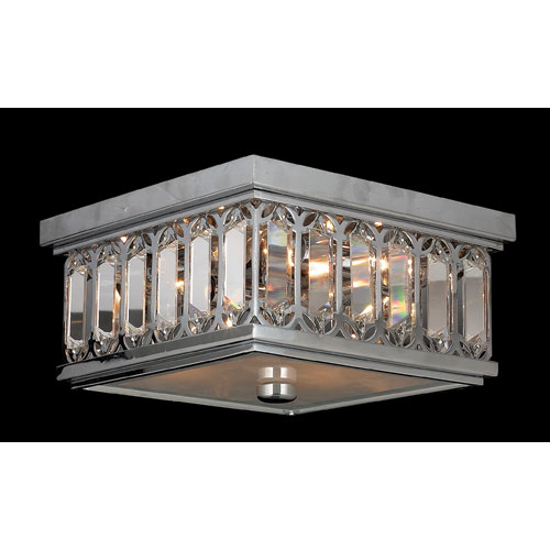 Athens Four-Light Chrome Finish with Clear-Crystals Ceiling-Light