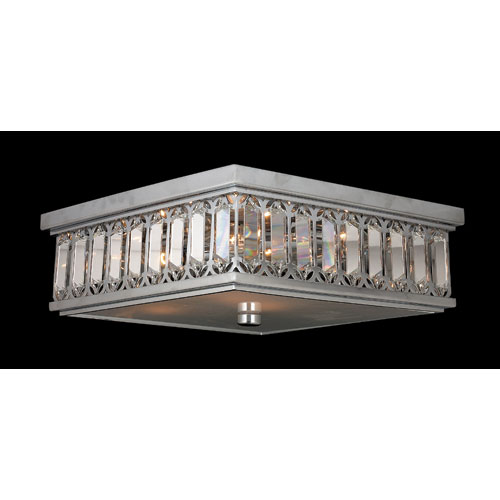 Worldwide Lighting Corp Athens Six-Light Chrome Finish with Clear-Crystals Ceiling-Light