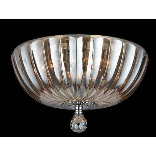 Mansfield Three-Light Chrome Finish with Golden Teak Crystal Ceiling-Light
