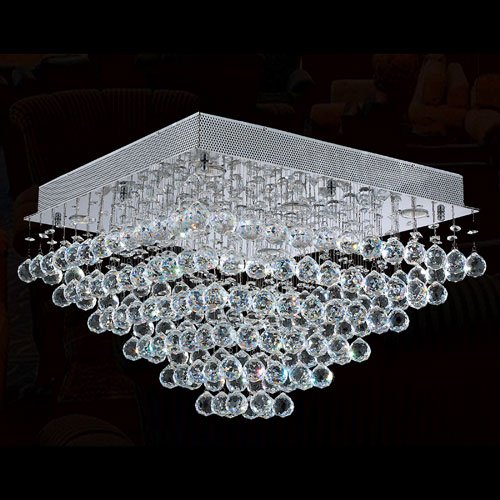 Worldwide Lighting Corp Icicle Eight-Light Chrome Finish with Clear-Crystals Ceiling-Light