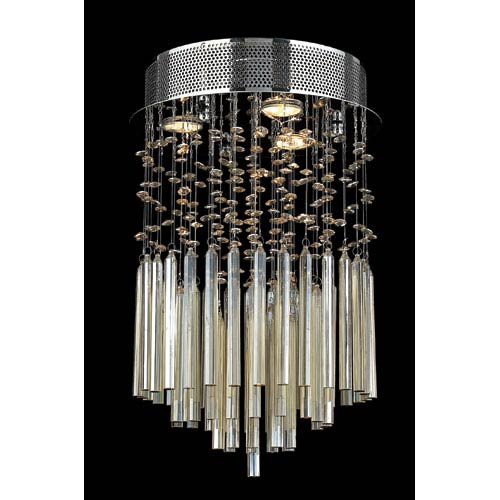 Worldwide Lighting Corp Torrent Three-Light Chrome Finish with Golden Teak Crystal Ceiling-Light