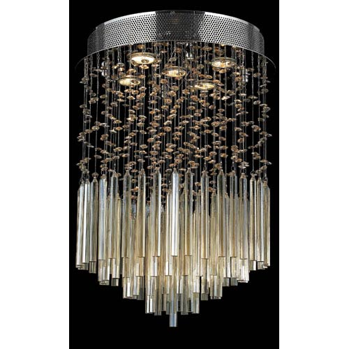 Worldwide Lighting Corp Torrent Five-Light Chrome Finish with Golden Teak Crystal Ceiling-Light