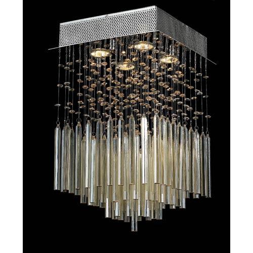 Worldwide Lighting Corp Torrent Four-Light Chrome Finish with Golden Teak Crystal Ceiling-Light