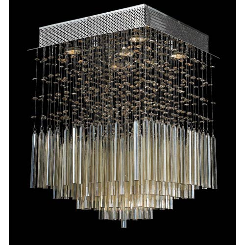 Torrent Four-Light Chrome Finish with Golden Teak Crystal Ceiling-Light