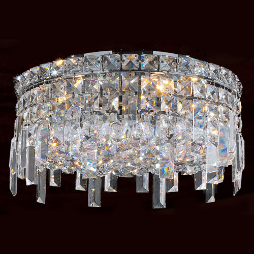 Worldwide Lighting Corp Cascade Four-Light Chrome Finish with Clear-Crystals Ceiling-Light