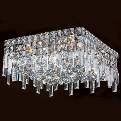 Worldwide Lighting Corp Cascade Five-Light Chrome Finish with Clear-Crystals Ceiling-Light