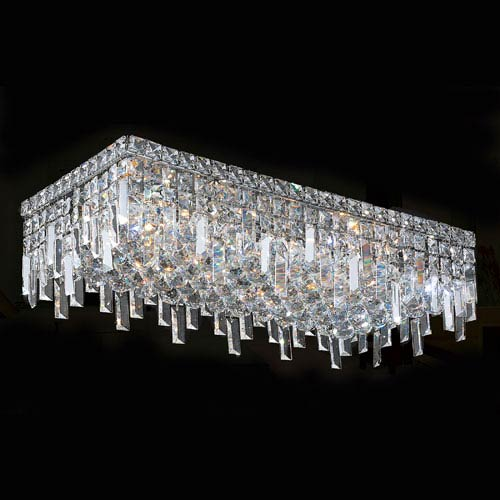 Worldwide Lighting Corp Cascade Six-Light Chrome Finish with Clear-Crystals Ceiling-Light