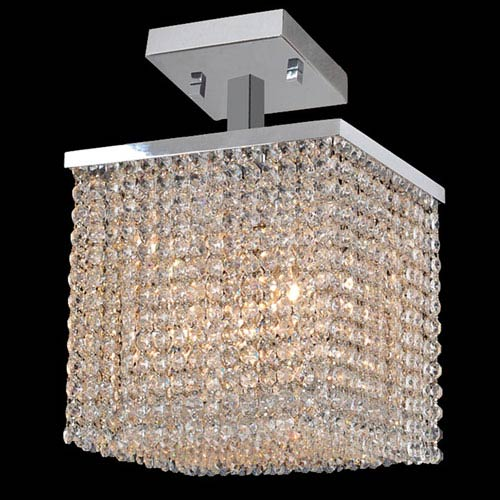 Worldwide Lighting Corp Prism Four-Light Chrome Finish with Clear-Crystals Ceiling-Light