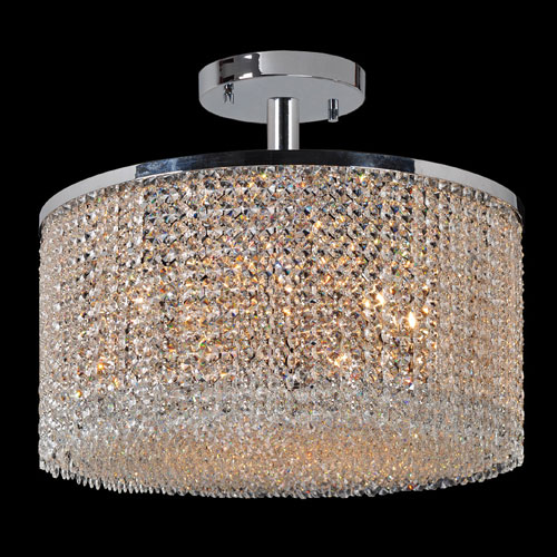 Worldwide Lighting Corp Prism Nine-Light Chrome Finish with Clear-Crystals Ceiling-Light