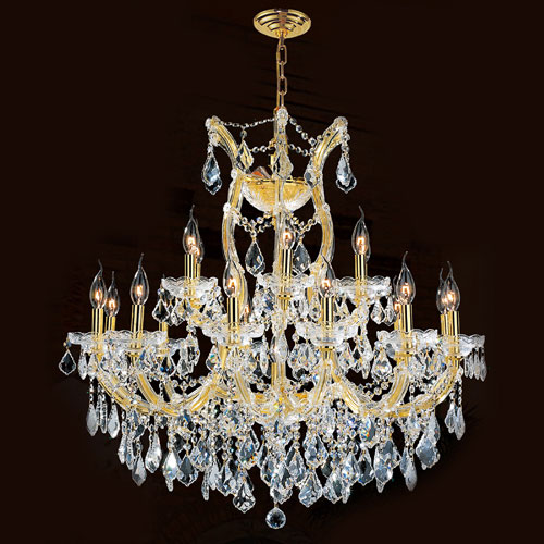 Worldwide Lighting Corp Maria Theresa 19-Light Gold Finish with Clear-Crystals Chandelier