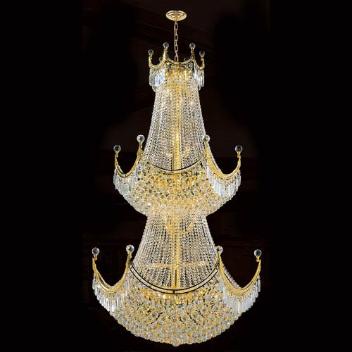 Worldwide Lighting Corp Empire 36-Light Gold Finish with Clear-Crystals Chandelier