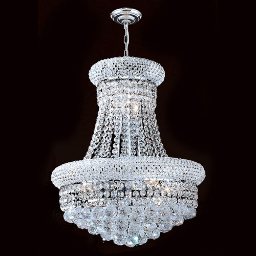 Worldwide Lighting Corp Empire Eight-Light Chrome Finish with Clear-Crystals Chandelier