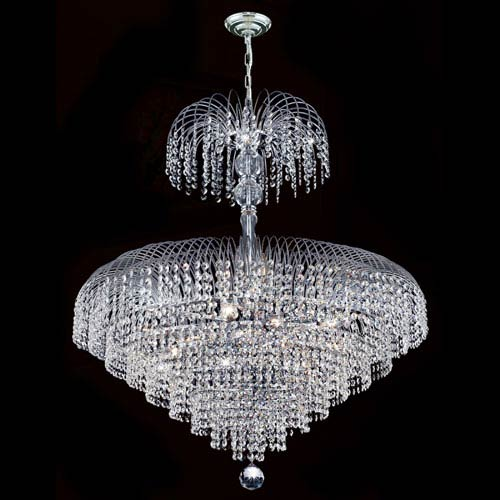 Worldwide Lighting Corp Empire 14-Light Chrome Finish with Clear-Crystals Chandelier