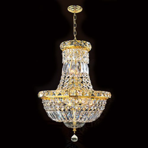 Worldwide Lighting Corp Empire Six-Light Gold Finish with Clear-Crystals Chandelier