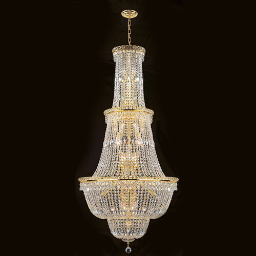 Worldwide Lighting Corp Empire 34-Light Gold Finish with Clear-Crystals Chandelier