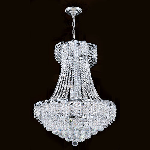 Worldwide Lighting Corp Empire 11-Light Chrome Finish with Clear-Crystals Chandelier
