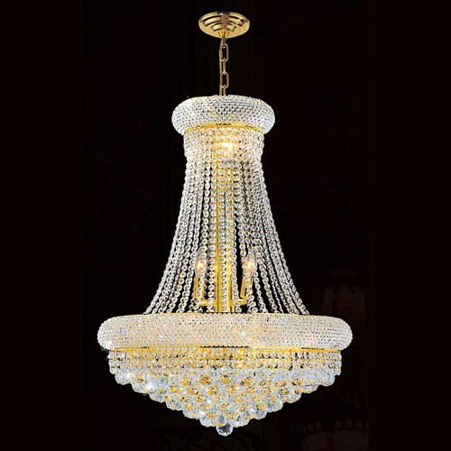 Worldwide Lighting Corp Empire 14-Light Gold Finish with Clear-Crystals Chandelier