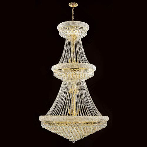 Worldwide Lighting Corp Empire 32-Light Gold Finish with Clear-Crystals Chandelier
