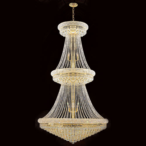 Worldwide Lighting Corp Empire 38-Light Gold Finish with Clear-Crystals Chandelier