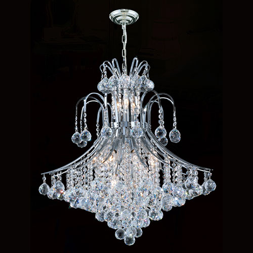 Worldwide Lighting Corp Empire 15-Light Chrome Finish with Clear-Crystals Chandelier