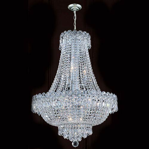 Worldwide Lighting Corp Empire 12-Light Chrome Finish with Clear-Crystals Chandelier