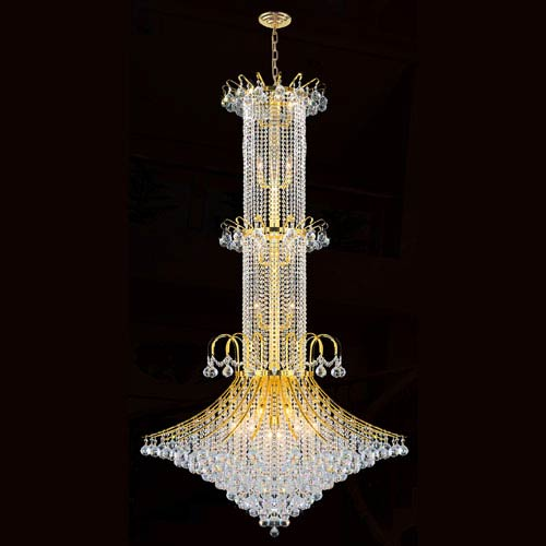 Worldwide Lighting Corp Empire 20-Light Gold Finish with Clear-Crystals Chandelier