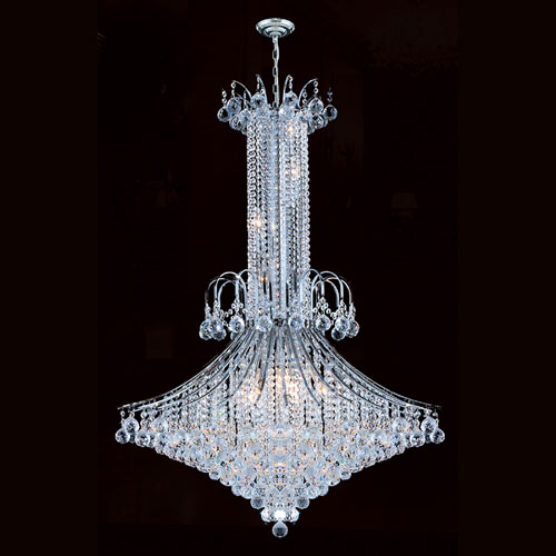 Worldwide Lighting Corp Empire 16-Light Chrome Finish with Clear-Crystals Chandelier
