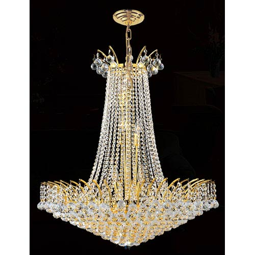 Worldwide Lighting Corp Empire 16-Light Gold Finish with Clear-Crystals Chandelier